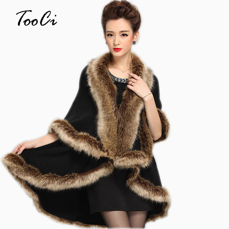 2018 Faux Fox Fur Coat Cashmere Kvinder Strikket Cardigan Women Poncho And Caps Strikket Sweater Lady Scarves Gratis Levering