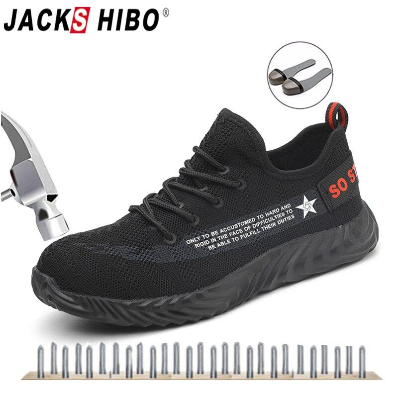 JACKSHIBO Homens Calçados de Segurança Botas De Verão Mulheres Respirável Sapatos de Trabalho Biqueira de Aço Piercing Masculino Sneaker Trabalho de Segurança de Construção