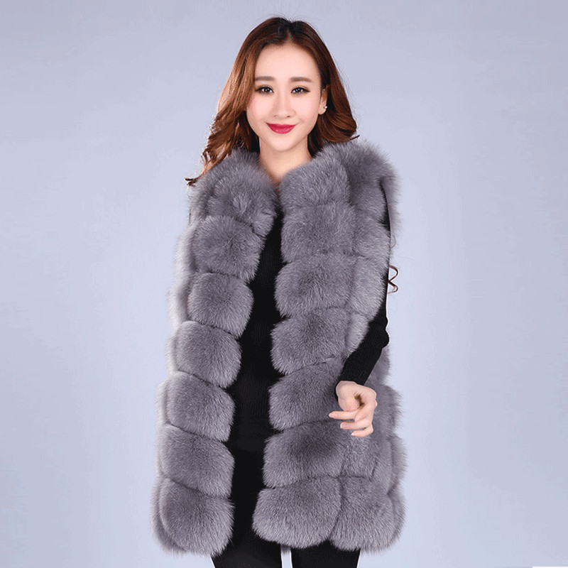 2017 Winter Thick Warm Real Fox Fur Vest Women s Fox Fur Coat Outerwear Women Fur