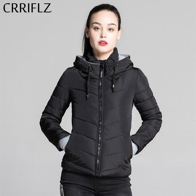 CRRIFLZ Autumn Winter Collection Short Jacket Women Parkas Outerwear Solid Hooded Coats Female Slim Cotton Padded Basic Jacket