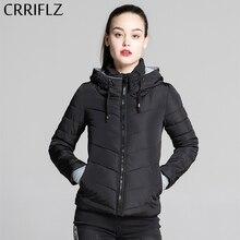 Crriflz 가을 겨울 컬렉션 짧은 자켓 여성 parkas 겉옷 솔리드 후드 코트 여성 슬림 코튼 패딩 기본 자켓
