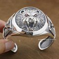 Huge Heavy Lion Knight King Cross 925 Sterling Silver Mens Bracelet Bangle 9B005