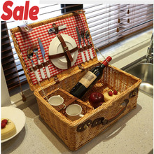Fashion Classic outdoor Wicker picnic basket set for 2 persons rattan with lid cutlery willow gifts