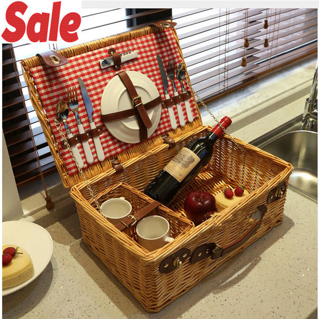 Rattan Wicker picnic basket set for 2 persons Fashion Classic outdoor picnic basket with lid cutlery willow picnic basket gifts