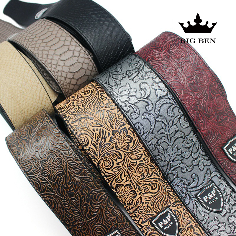 freight free electric guitar PU leather belt straps acoustic guitar bass strap stamping imitation snakeskin stone texture straps amumu cotton guitar strap for acoustic electric guitar and bass solid color guitar belt adjustable 66 126 cm length s309