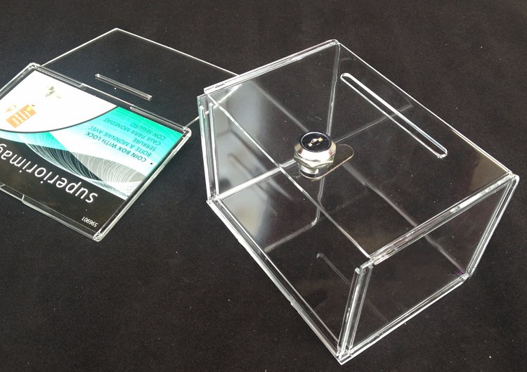 Free Shipping 10pcs/lot Countertop Acrylic Perspex Donation Boxes Container  With Lock For Donation,