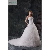 2013 New Arrival Organza Wedding Dress Bridal Dress Bride Gown Pleated Bodice Skirt Ruffles A Line