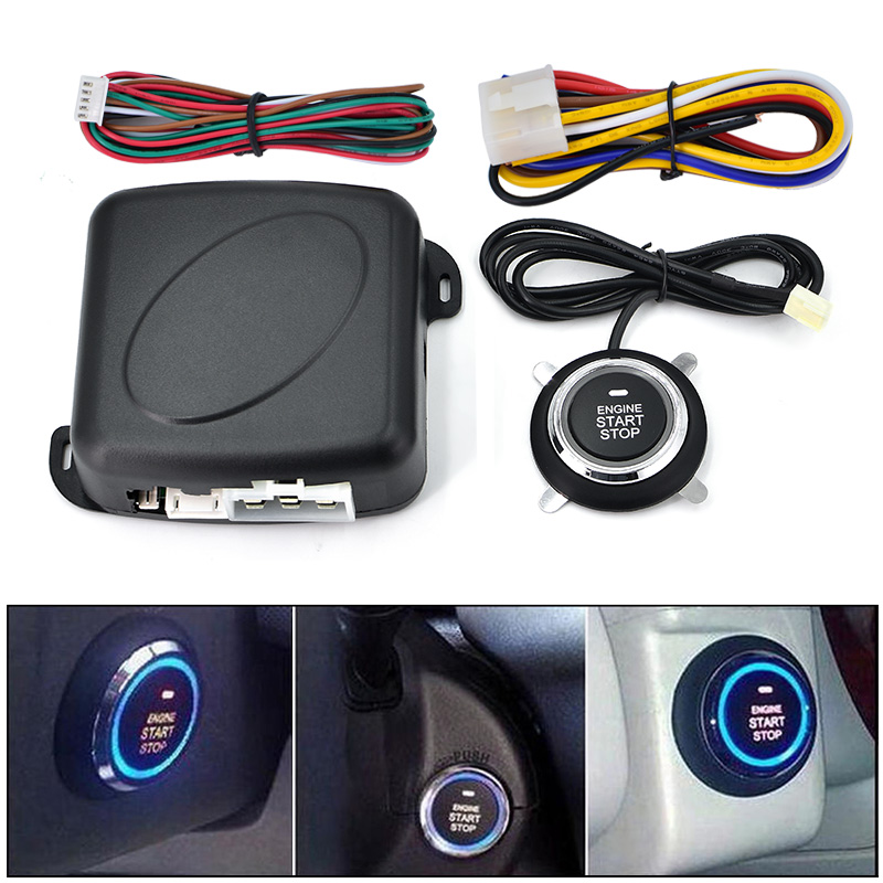 Auto One START STOP Engine system Lock Ignition button Keyless Entry System Go Push Button easyguard pke car alarm system remote engine start stop shock sensor push button start stop window rise up automatically