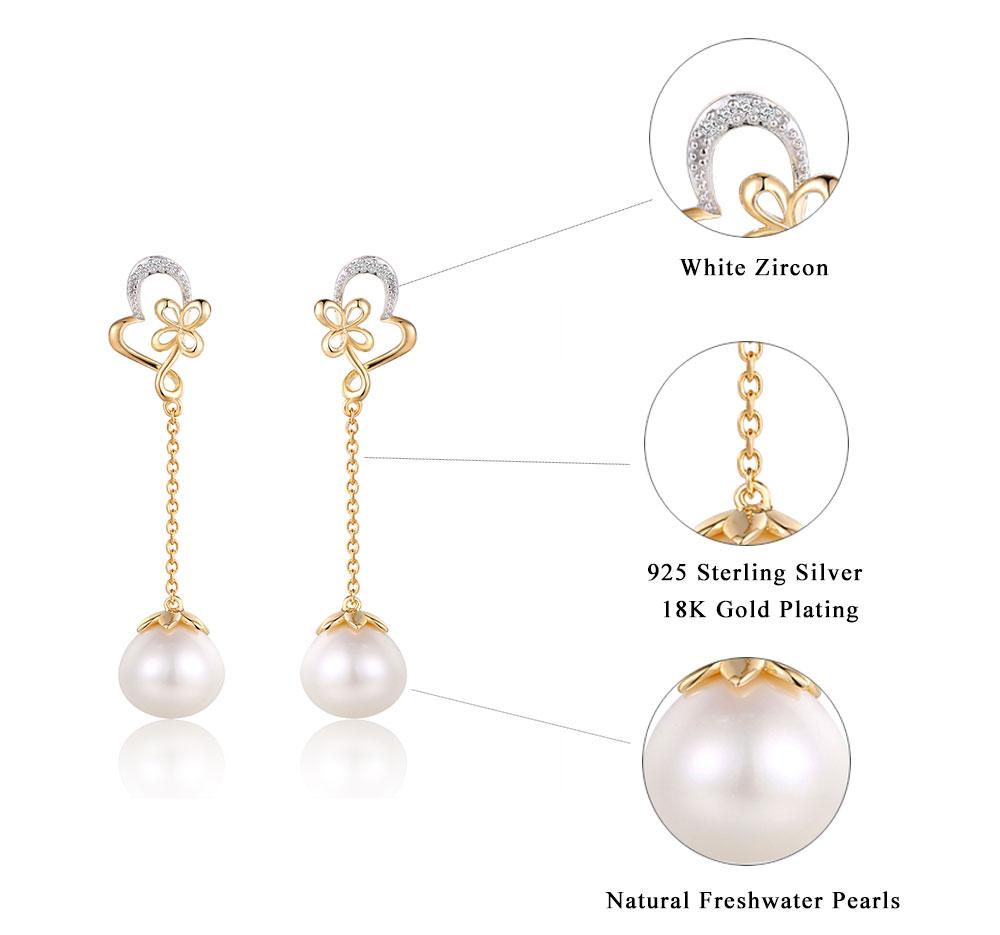 silver pearl earrings CASE0091243