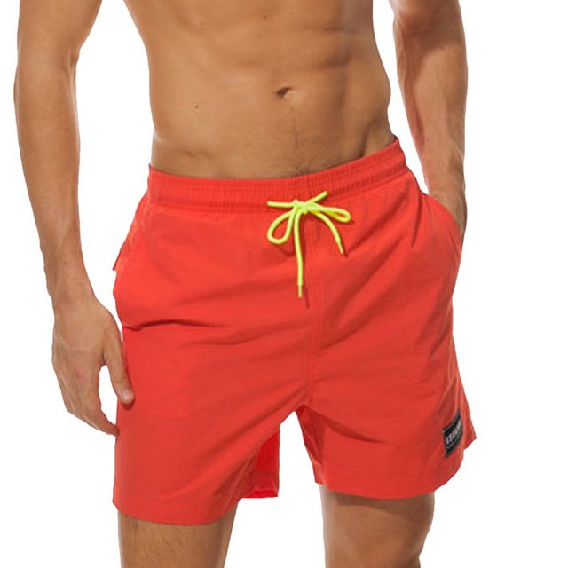 Vertvie Men's Swimming Trunks Solid Men Swimwear Board Shorts Beach Shorts Men Swim Shorts Surf Shorts Drawstring Swimming Trunk