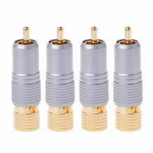 лучшая цена 4 Pcs Gold Plated RCA Plug Locking Non Solder Plugs Connector Tail Hole 10MM