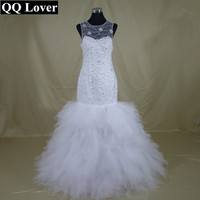 QQ Lover 2017 New African Sexy Plus Size Mermaid Wedding Dresses With Beads Vestido De Novia With Real Pictures