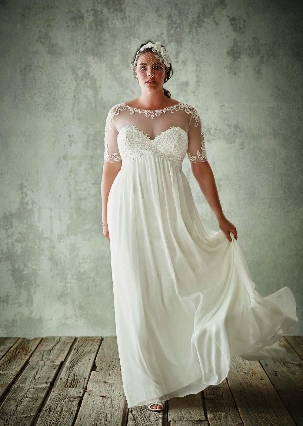 empire cut chiffon wedding dress with beading decor hswd empire wedding dresses