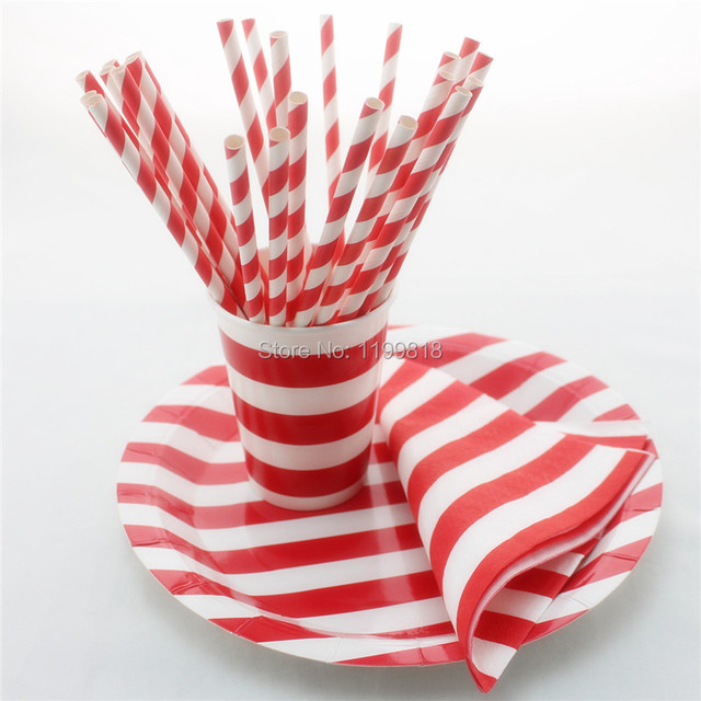 Promotion Pink Striped Party Tableware Set Disposable Paper Cups Straws Wedding Decor Party Paper Napkins Paper & Promotion Pink Striped Party Tableware Set Disposable Paper Cups ...