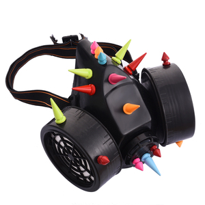 Image 2 - Steampunk Dazzling Multi color Spikes Gas Mask Respirator Rivet Masks Punk Gothic Cosplay Mask Accessories Halloween