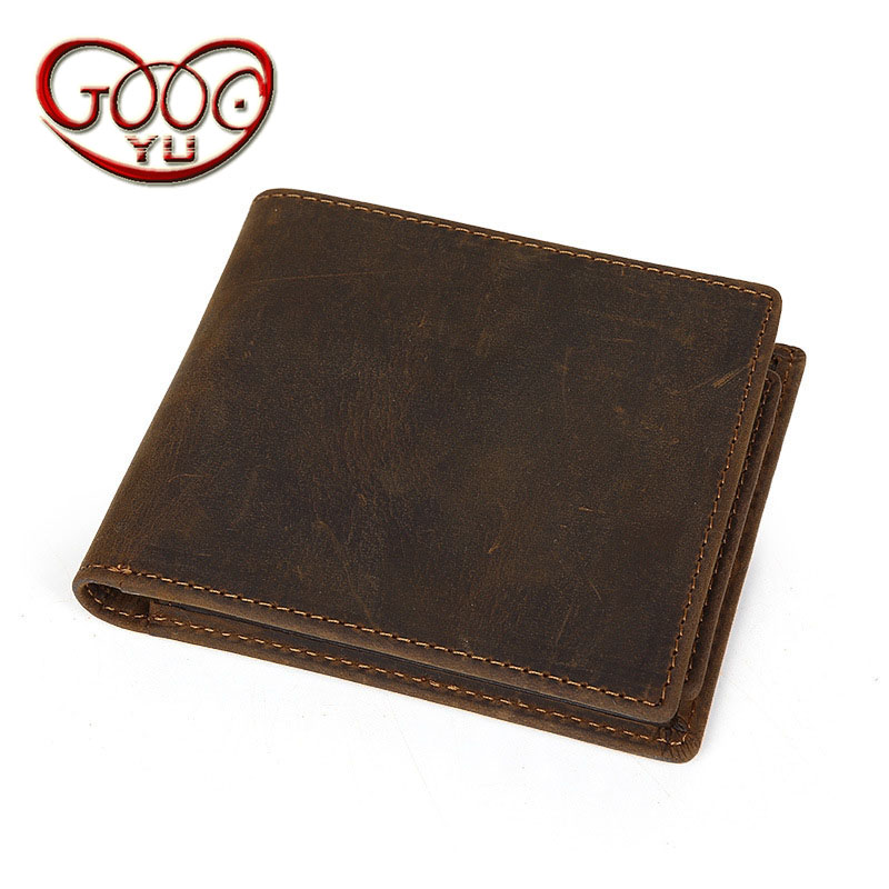New retro crazy handmade leather wallet leather cross section square multi-card bit wallet