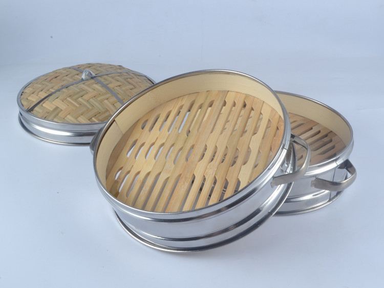 Chinese Kitchen Cookware Steamed Bamboo Stainless Steel Cage Small Steamed Bun Shaxian County Snacks Steamer And Lid 14.5-30cm