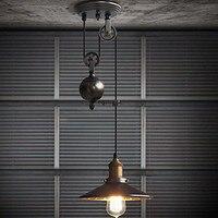 Nordic loft retro industriële wind katrol lift hanglamp Restaurant Bar droplight|Hanglampen|Licht & verlichting -