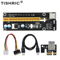 50pcs Black 60cm 1x to 16x USB3.0 PCI E extender PCI Express Riser Card SATA to 4Pin IDE Molex Power Supply BTC Miner Machine