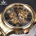 SEWOR 2016 Nova Série Oco Cheio de Ouro Skeleton Mens Relógios Top Marca de Luxo Mecânico Automático Negócio Relógio Ocasional