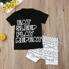 Muqgew для малышей Детская одежда для маленьких мальчиков футболки с надписями топы с геометрическим принтом и шорты летняя детская одежда для девочек;# y2