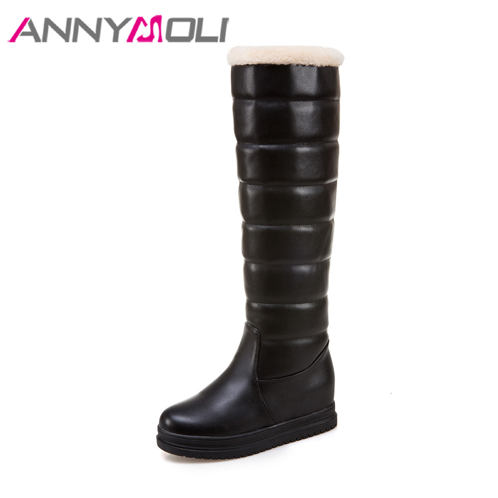 ANNYMOLI Women Winter Snow Boots Plush Knee High Boots Platform Wedge Boots Fur Warm Pleated Shoes Female Black botas mujer 2017 karinluna women half knee snow boots rubber sole round toe platform warm fur shoes winter ladies footwear bootas mujer