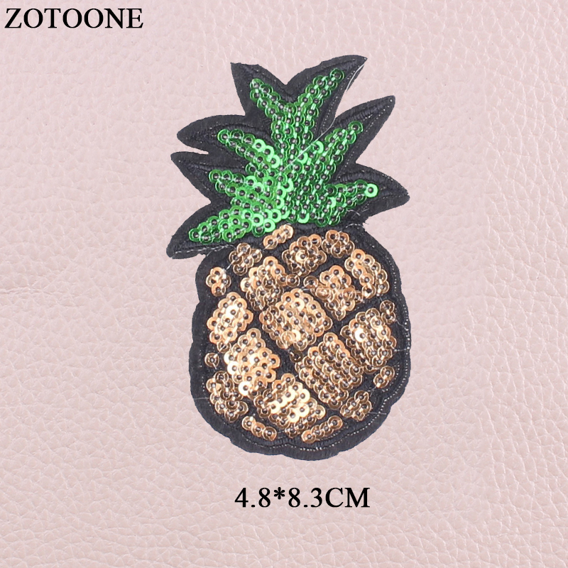 ZOTOONE Iron On Love Unicorn Fruit Food Patches For Clothing Diy Embroidery Sequin Panda Rabbit Patch Stickers Fabric Appliques in Patches from Home Garden