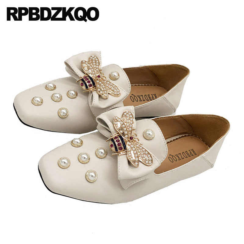 a4ffa3c90 ... Flats Rhinestone Pearl Crystal Mules Diamond Designer Shoes Women  Luxury 2018 Loafers Square Toe Slippers Bee ...