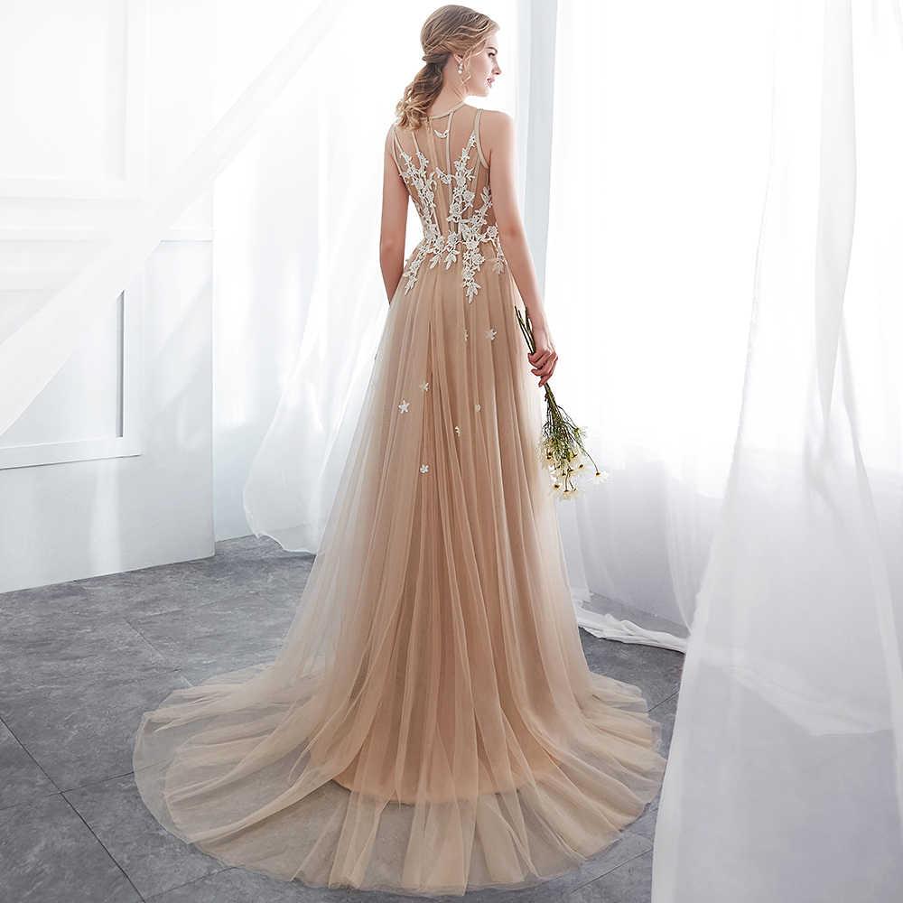 e8c39a7e8d330 Babyonline Elegant Champagne Lace Appliques Long Evening Dresses 2019  Formal Dress Party Gowns vestido de festa longo