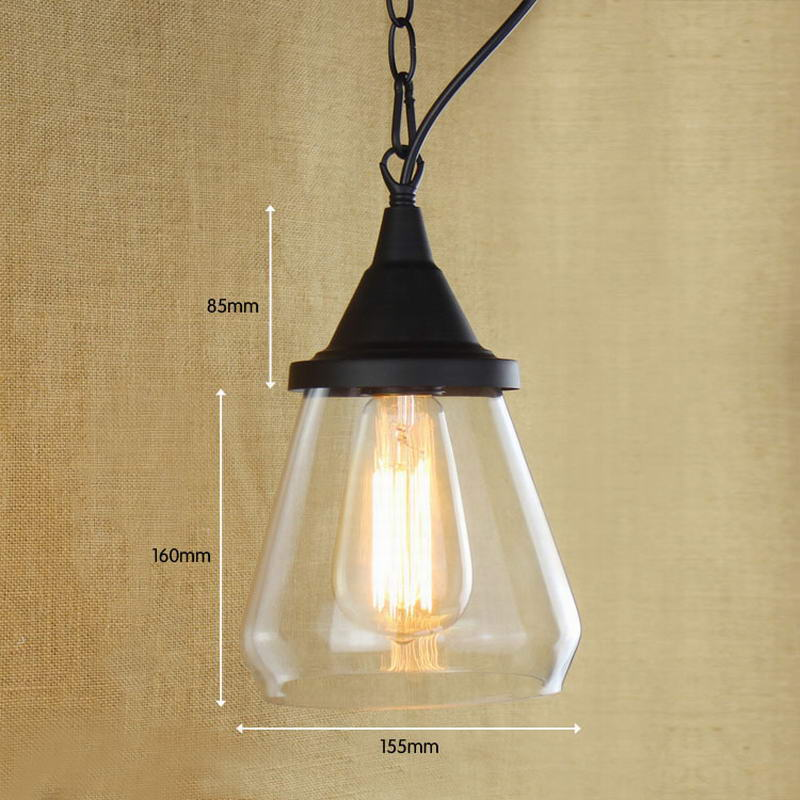 ФОТО Recycled retro Hanging clear glass cup Pendant Lamp with Edison Light bulb Kitchen Lights and Cabinet Lights