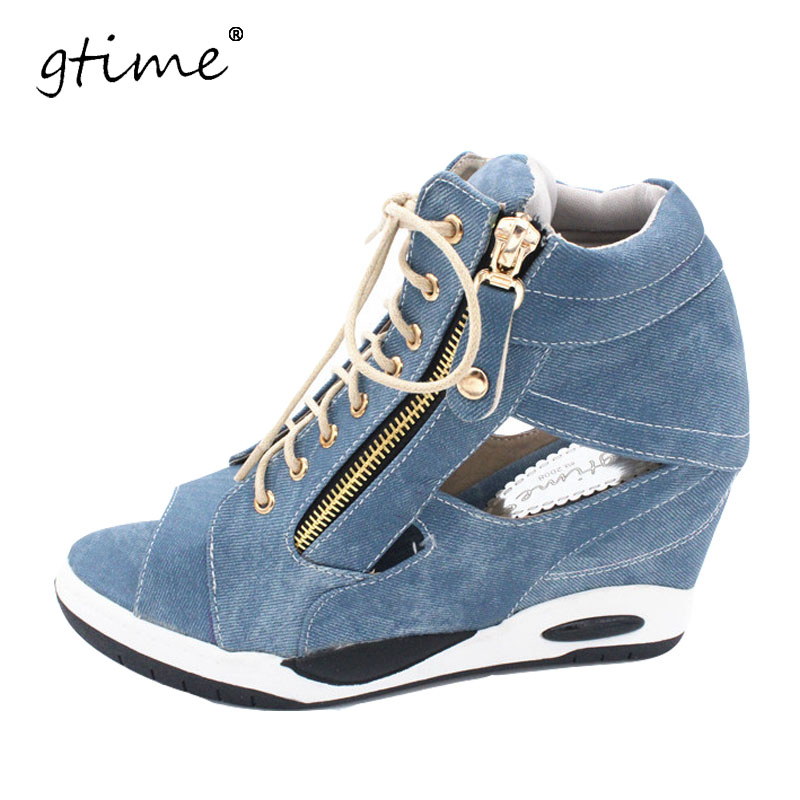 GTIME Shoes Jeans Gladiator Sandals Woman Wedges High-Heels Pumps Platform Sexy Open