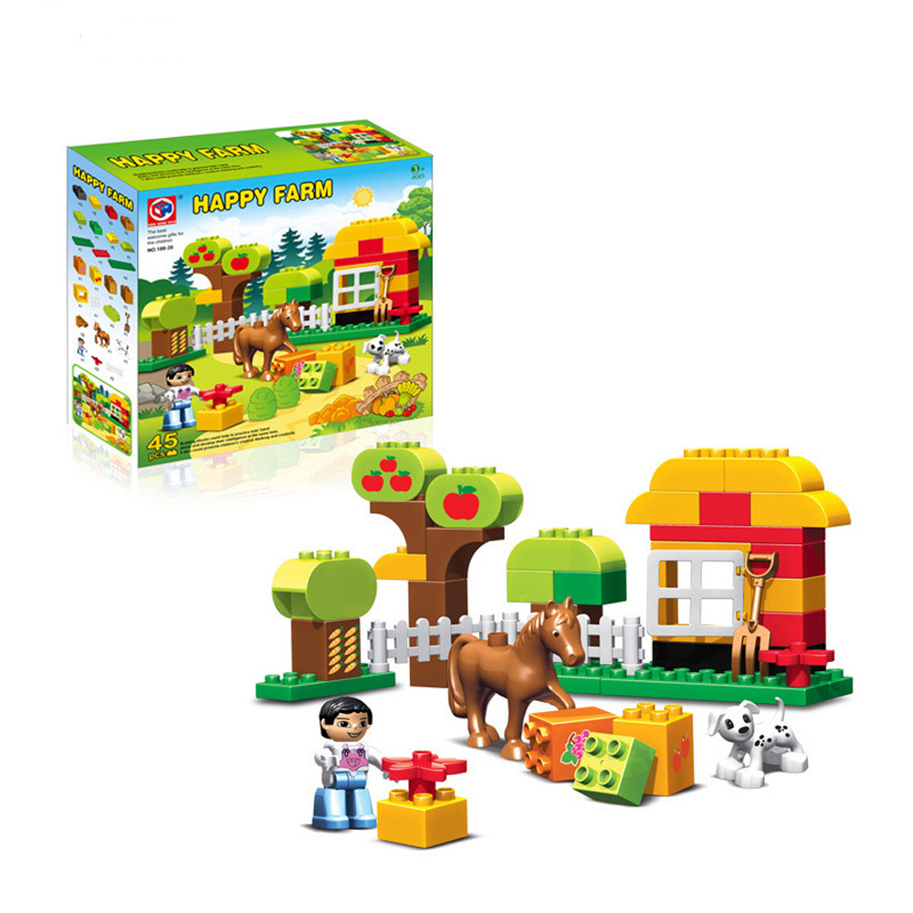 45pcs Large Size Happy Animals Farm Building Blocks Sets Animal Model Bricks Toys Compatible With legoeINGlys Duplos Baseplate qwz 39 65pcs farm animals paradise model car large particles building blocks large size diy bricks toys compatible with duplo