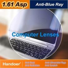 Handoer 1.61 Anti-Blue Ray Protection Optical Single Vision Lens for Digital Device Anti-UV Prescription Computer Lenses,2Pcs
