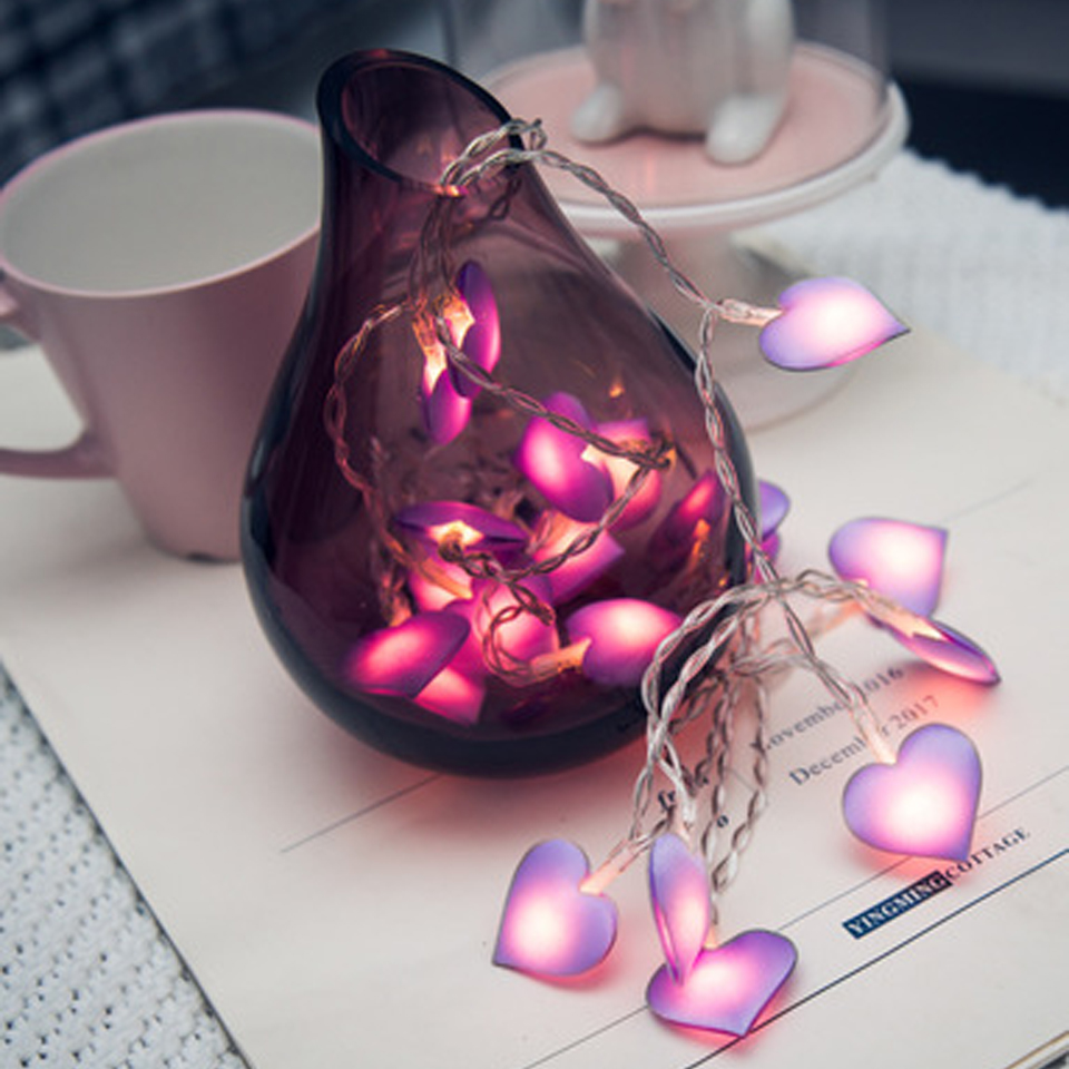 Xsky pink led fairy lights love heart 10 20leds lantern - String lights for bedroom ...