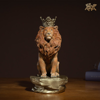 Limited Edition Collection TOP Original home office business art LION King of the Forest animal color brass Sculpture Ornament