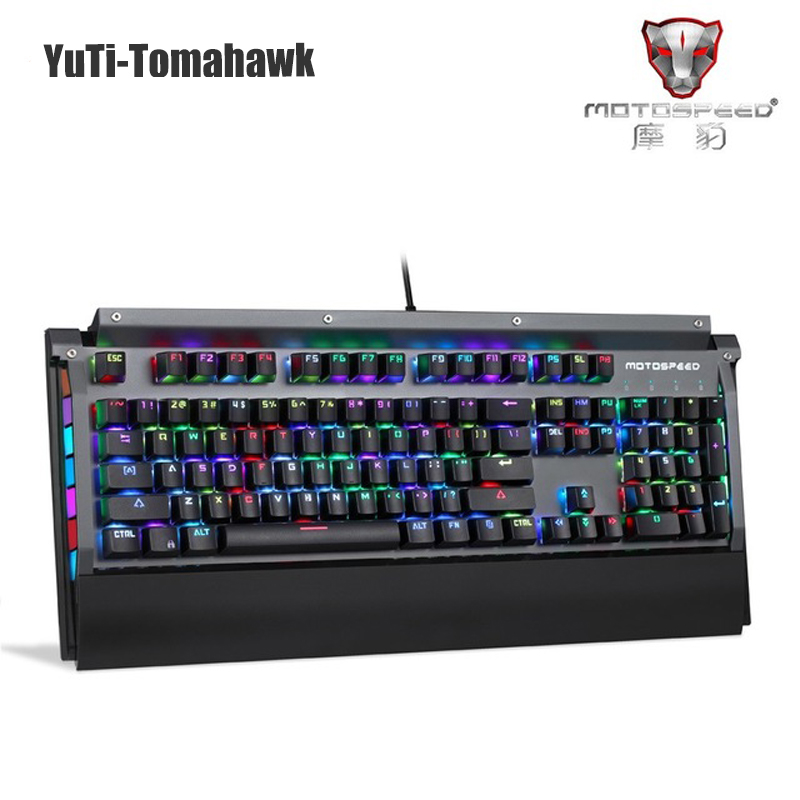 Motospeed Gaming Mechanical Keyboard Gamer English Blue Switch RGB Backlight 104 Key Anti-Ghosting Keyboard For Computer PC gamer gaming mechanical rgb led backlit gaming mechanical keyboard black switch backlight game keyboard for pc laptop