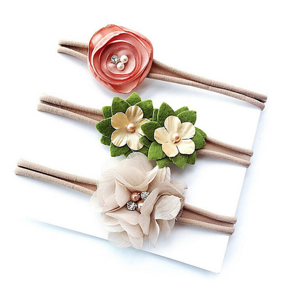 3PCS Baby Clothes Girls Hair Accessories Kids Headband Hair Baby Headwear Hairpin Infant Toddler Flower Band Headwear Hairband awaytr korean hairband for women girls cute headband cat ears hair hoops with sequins hair accessories party birthday headwear