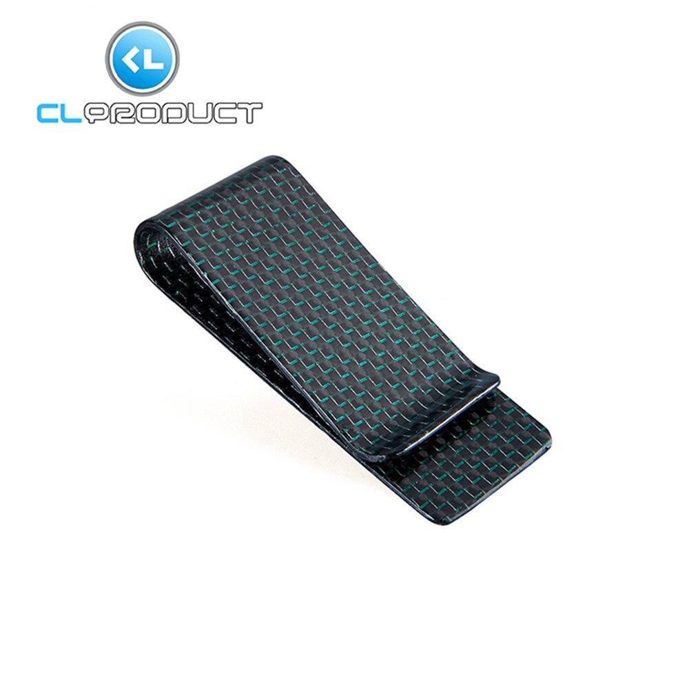 Carbon Fiber Money <font><b>Clip</b></font> Green Glossy M Size- Genuine 3K Twill- Credit Card Business Wallet Money <font><b>Clips</b></font>