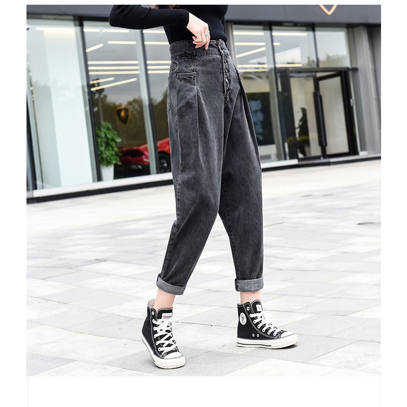 JUJULAND 2019 Denim Pants Fashion Women High Waist Stretch Jean Female Spring Jeans Feet Pantalones mujer Plus Size 6192(China)
