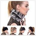 2016 nuevo invierno bufanda de lana de tejer moda de piel de Conejo Rex sombrero caliente gorras