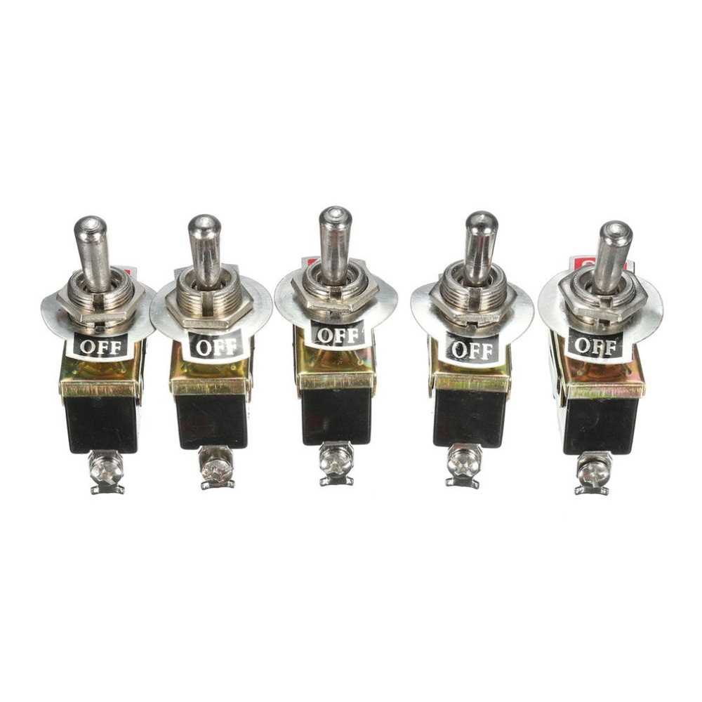 5 Pcs/set Heavy Duty 15A 250V SPST Control 2Pins 2 Terminal ON/OFF Toggle Rocker Switch Waterproof Boot For Car Boat 5 x on off small toggle switch miniature spst 6mm ac250v 3a 120v 5a