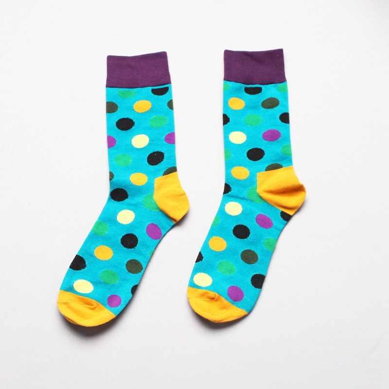 e3a79b3b16648 ... Fashion Socks Men Cotton Crew Polka Dot Print Skate Dress Brand Happy  Harajuku Novelty Calcetine Sox