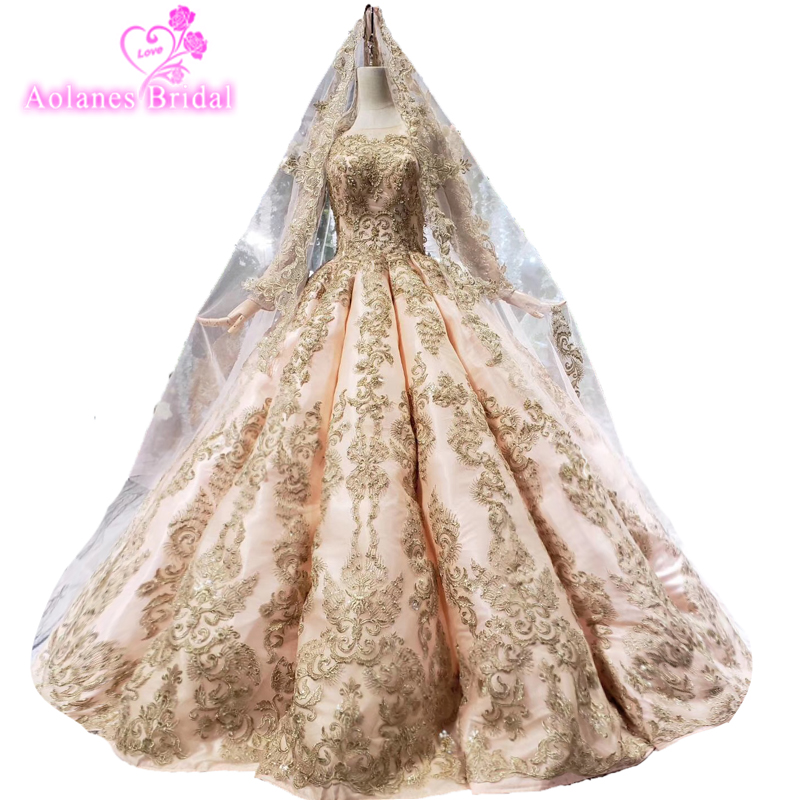 African Kaftans Puffy Formal   Evening     Dresses   Luxury Aibye Champagne Pink Prom   Dress   Robe De Soiree Dubai Islamic Party   Dresses