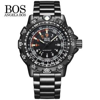 ca190f53b205 ANGELA BOS Super militar luminoso reloj hombres multifunción brújula Dial  giratorio aleación ejército silicona de lujo reloj hombres reloj hombre
