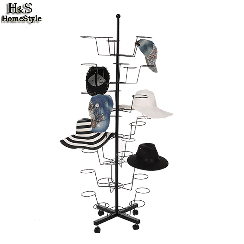 Homdox Hat Cap Display Retail Rotating Adjustable Metal Stand Hanger Rack Organizer Storage Hat Closet Hanger N30* black metal hat display stand black hat display rack hat holder cap display