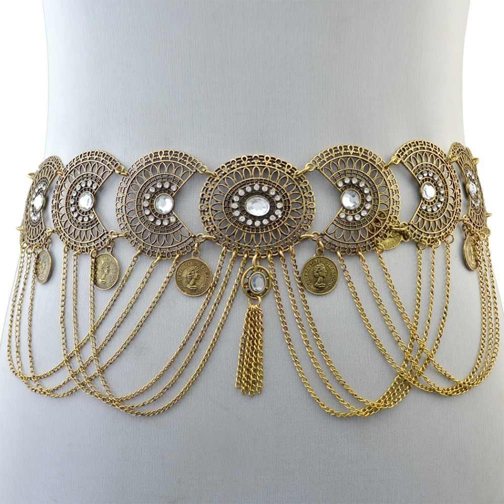 82b6b5eadadaa ... Gypsy Indian Belly Piercing Dance Belt Waist Chains Sexy Femme Gold  Silver Metal Flower Crystal Coin ...