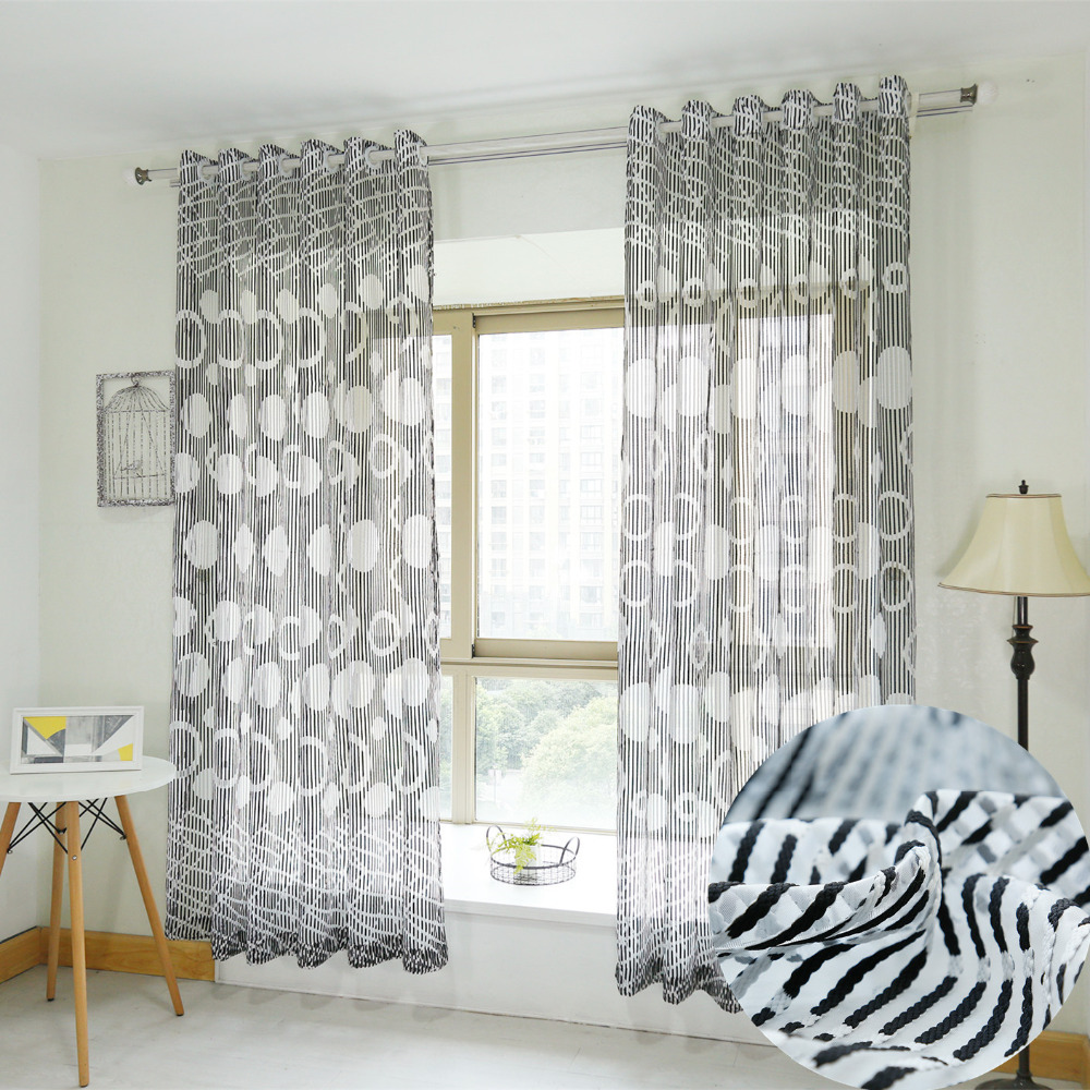Black And White Striped Curtains Living Room - Latest morden creative black and white stripe window curtain for living room tulle sheer bedding room