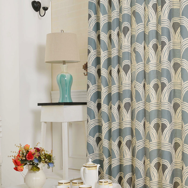 Geometric Printed Modern Curtains For Living Room Cotton Fabric Home Window Treatments Blue Kitchen Door