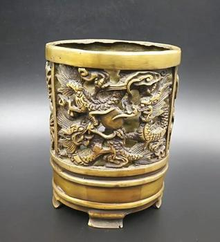Chinese pure brass Ssangyong play pearl Brush pot