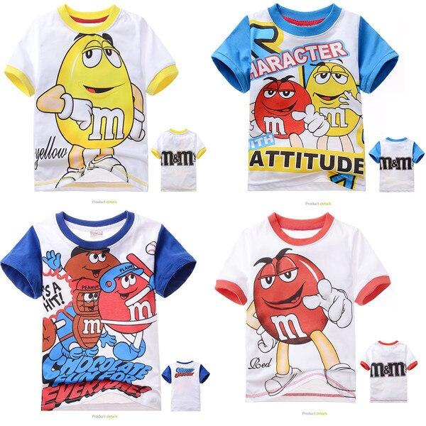 1 пк ( 95 - 140 ) дети в спорт комикс футболки для 2 - 7 лет дети короткий рукав хлопок топы мальчики девочки лето одежда